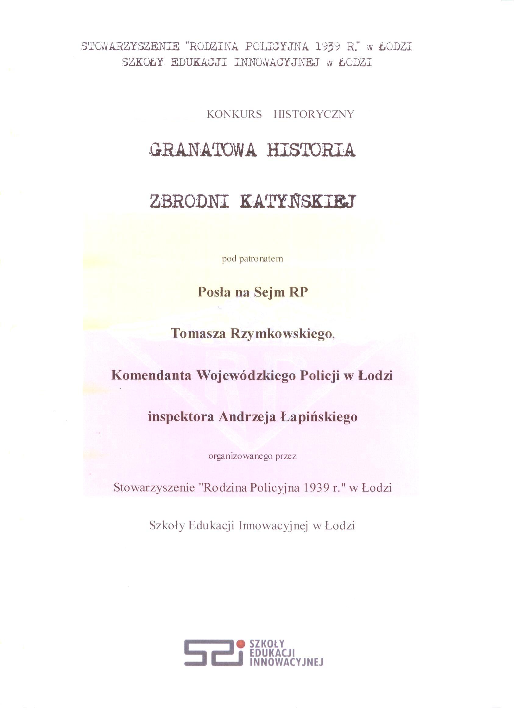 Konkurs Granatowa Historia Zbrodni Katyńskiej